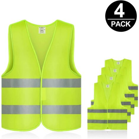 Set of 4 car safety vests Neon yellow, washable, 360 ° reflective safety vest for the safety of automobile drivers, drivers and workers with high risk