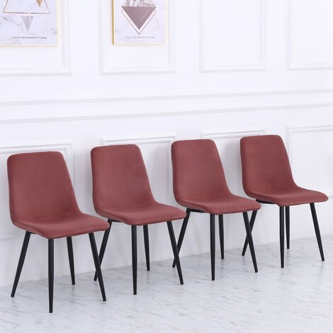 Set of 4 Curved Frosted Velvet Dining Chairs