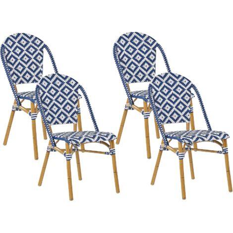 Set of 4 Garden Chairs Blue and White Pattern RIFREDDO