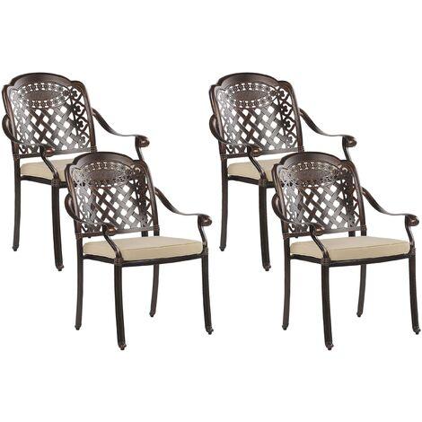 Set of 4 Garden Chairs Brown MANFRIA