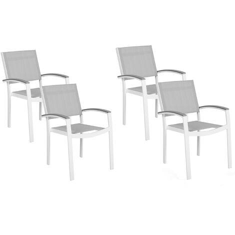 Set of 4 Garden Chairs White Aluminium Frame Grey Synthetic Sling Seat Outdoor Pereta