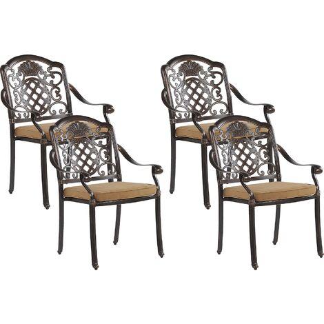 Set of 4 Garden Dining Chairs Brown SALENTO