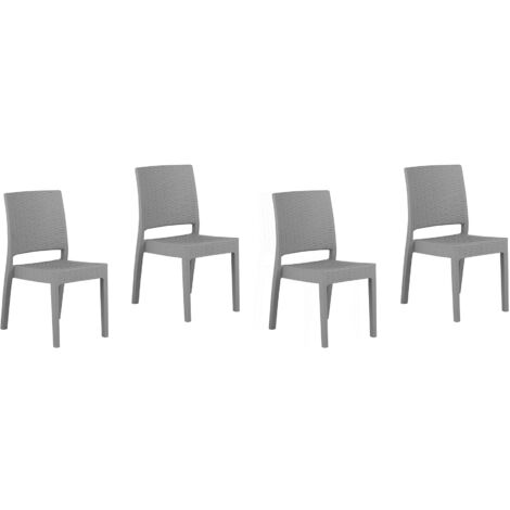 Set of 4 Garden Dining Chairs Outdoor Stackable Light Grey Fossano