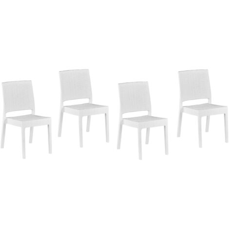 Set of 4 Garden Dining Chairs Outdoor Stackable White Fossano