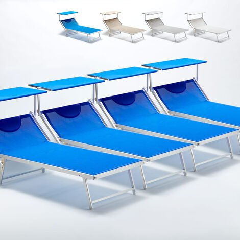 Set Of 4 GRANDE ITALIA Queen Size Sun Loungers With Built-in Headrest And Sunshade