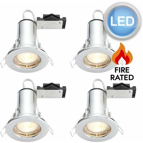 Set of 4 GU10 Fire Rated Recessed Downlight Spotlights Fix or Tilt Inc LED Bulbs