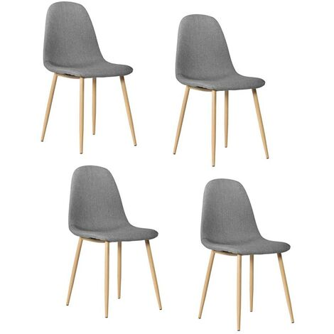 """main image of """"Set of 4 Kitchen Chairs Dining Side Chairs Modern Dining Chairs Grey Ventilate Fabric Cushion"""""""