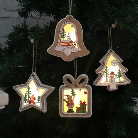 Set of 4 LED Christmas Tree Decorations Wooden Christmas Tree Decorations Hanging Christmas Tree Decorations