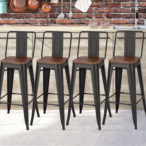 Set of 4 Metal Frame Tolix Industrial Bar Stool Pub Wood Top Chair with Footrest