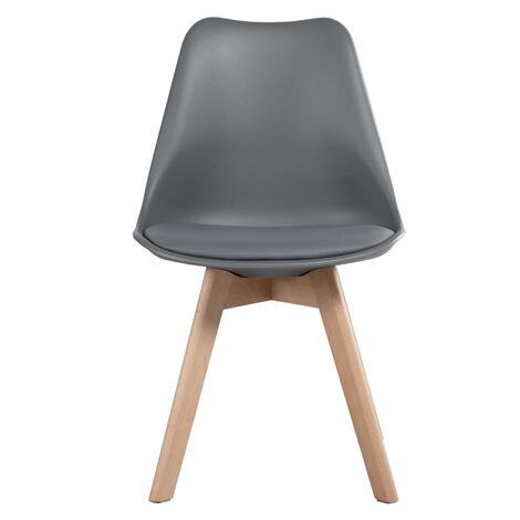 """main image of """"Set of 4 Mid Century Modern Style Tulip Plastic Dining Chair DSW Upholstered Side Chair with Beech Wood Legs and Soft Padded Shell Chair for Kitchen, Dining, Bedroom, Living Room or office"""""""