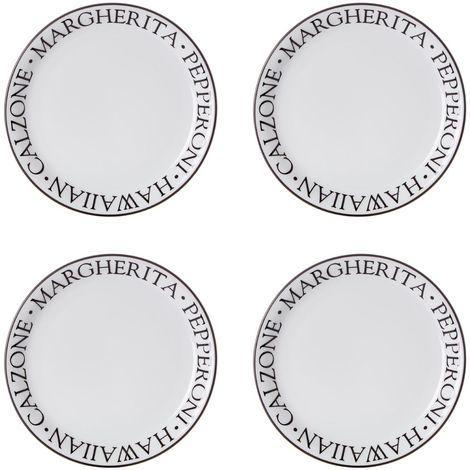 Set of 4 Noir Pizza Plates