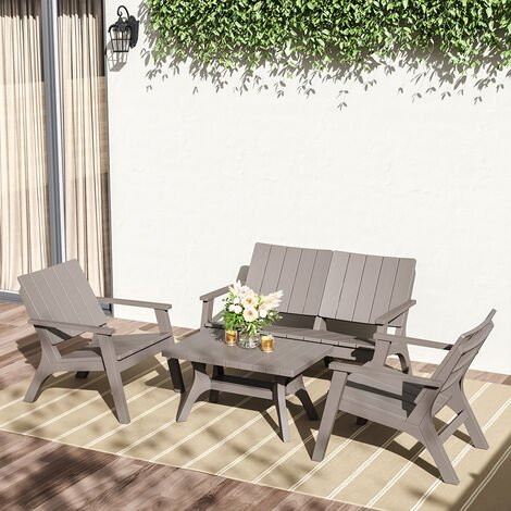"""main image of """"Set of 4 Outdoor Furniture Set Plastic Table and Chairs"""""""