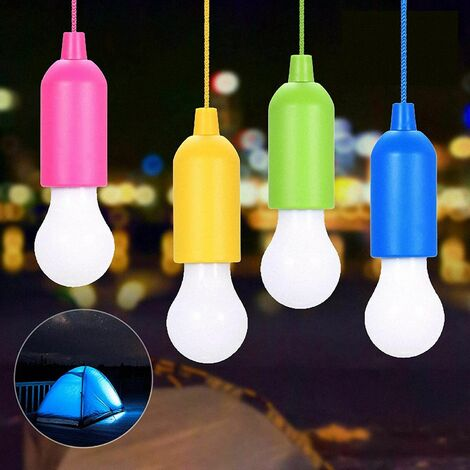Set of 4 Portable LED Camping Lights With Pull Switch - White LED Bulbs - Mobile Light for Garden, Balcony, Wardrobe, Tent, Fishing, Party Decoration Battery Operated