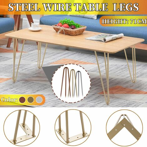 Set of 4 Premium 3-Prong Hairpin Table Legs + FREE Screws and Protector 20x20x43cm (Light Goldenrod yellow, 4 pcs without gifts)