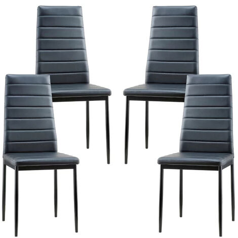 """main image of """"Set of 4 PU Leather Padded Seat Metal Legs Dining Chair"""""""