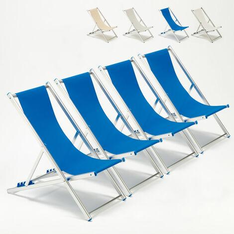 Set of 4 RICCIONE Beach & Patio Deck Chairs | Blue