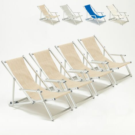 Set of 4 RICCIONE LUX Beach Deck Chairs With Armrests