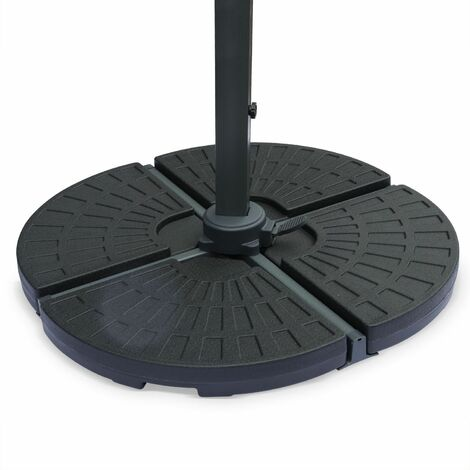 "Set of 4 rounded weight slabs 48x48cm - to offset parasol with ""cross"" base type, base, plinth, weights"