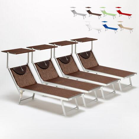 Set of 4 SANTORINI Folding Sun Loungers With Headrest And Adjustable Backrest