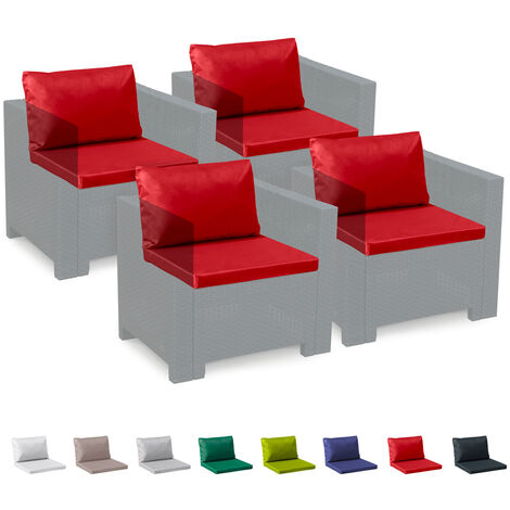 Set Of 4 Seat & Back Outdoor Cushions   Red