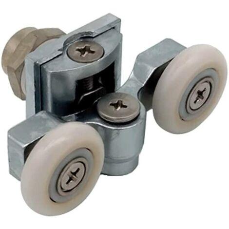 Set of 4 Shower Door Runners Double Wheels Pulleys for Curved Doors Ø23mm
