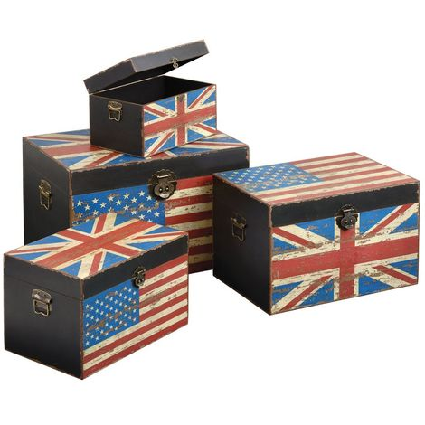 Set of 4 storage trunks, anglo-american design, md