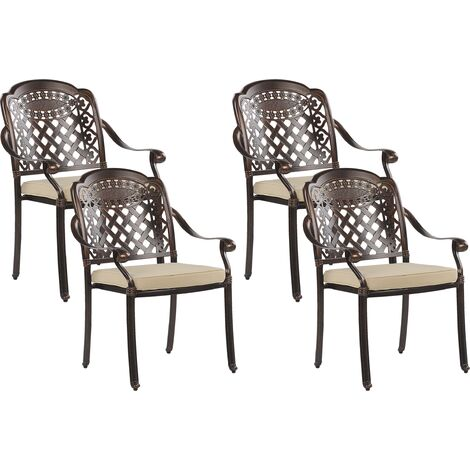 Set of 4 Vintage Outdoor Garden Dining Chairs Brown Aluminium with Seat Pads Manfria