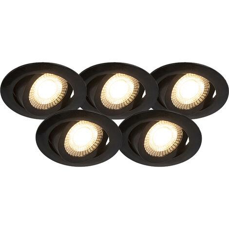 Set of 5 black recessed spotlights incl