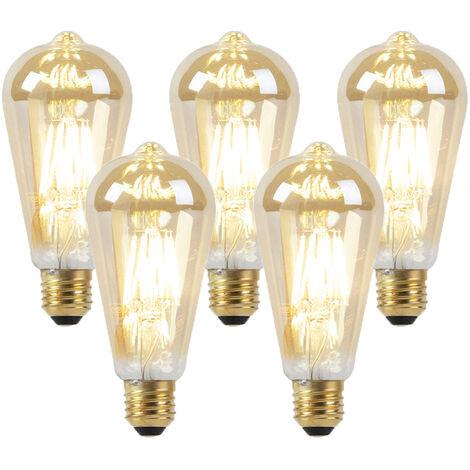 Set of 5 E27 LED ST64 Goldline Filament 8W 900LM 2000K-2600K