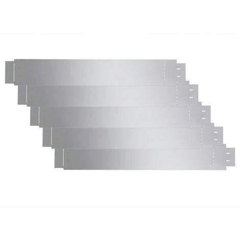 Set of 5 Flexible Lawn Fence Galvanised Steel 100 x 15 cm