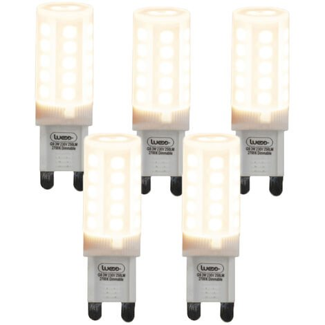 Set of 5 G9 dimmable LED lamps 3W 280 lm 2700K