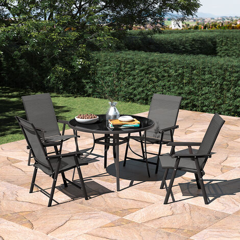 Set of 5 Garden 105CM Patio Glass Umbrella Table and Folding Chairs Set