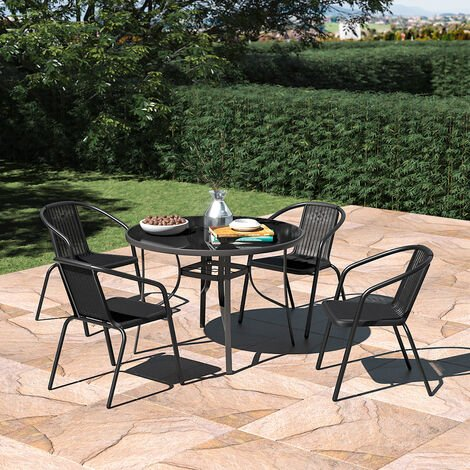Set of 5 Garden 105CM Patio Glass Umbrella Table and Stackable Chairs Set
