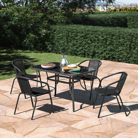 Set of 5 Garden 120CM Rectangle Glass Umbrella Table and Stackable Chairs Set