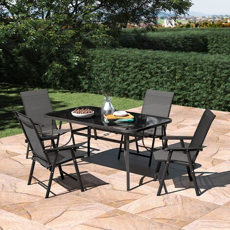 Set of 5 Garden 150CM Rectangle Glass Umbrella Table and Folding Chairs Set