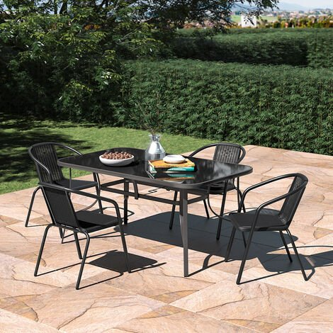 Set of 5 Garden 150CM Rectangle Glass Umbrella Table and Stackable Chairs Set