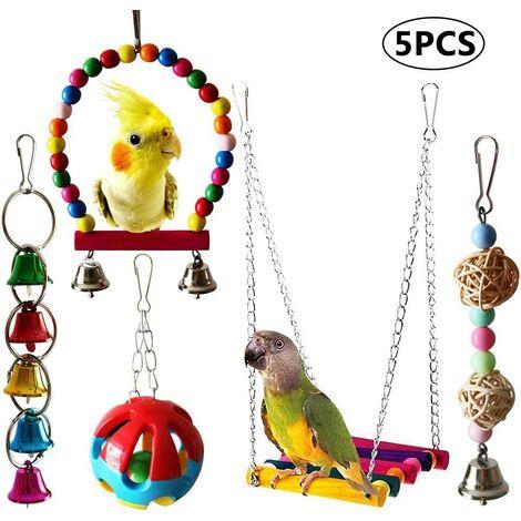 Set of 5 Parrot Toy Bird Bird Chew Toy Branch, Colorful Bird Toy Swing, Bridge Scale, Hanging Bell Toy, Bird Chew Toy