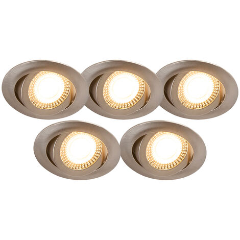 Set of 5 recessed spotlights steel incl. LED 3-step dimmable - Mio