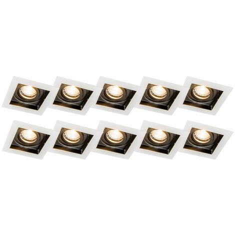 Set of 5 recessed spotlights white steel - Carree