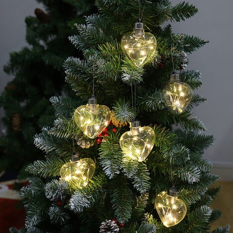 Set of 6 Clear Snowflakes Glass Ball with LED Light for Christmas Tree
