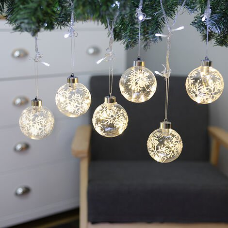 """main image of """"Set of 6 Clear Snowflakes Glass Ball with LED Light for Christmas Tree"""""""