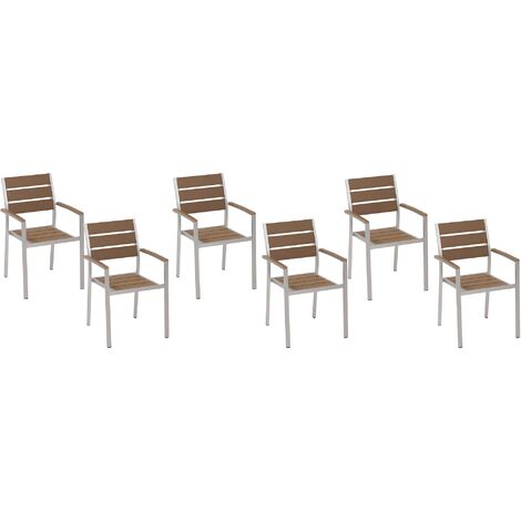 Set of 6 Dining Chairs Brown VERNIO