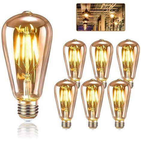 Set of 6 Edison E27 ampoules, Kipida 4W retro bulb LED Christmas decoration, etc., amber hot