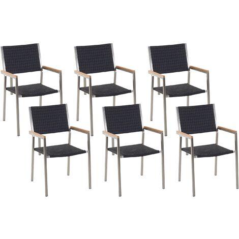 Set of 6 Faux Rattan Garden Chairs Black GROSSETO