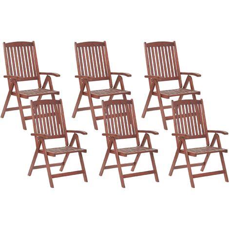 Set of 6 Garden Chairs Acacia Wood TOSCANA