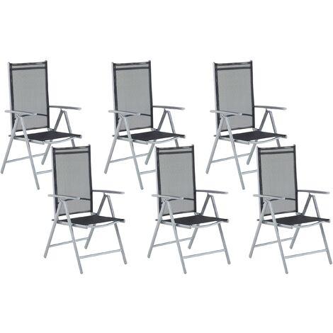 Set of 6 Garden Chairs Black Aluminium Frame Folding Reclining Catania