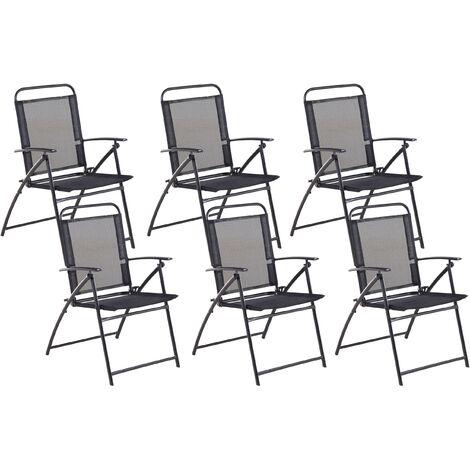 Set of 6 Garden Chairs Black LIVO