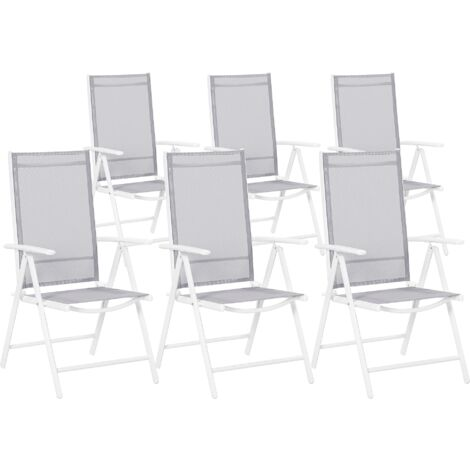 Set of 6 Garden Chairs Grey CATANIA