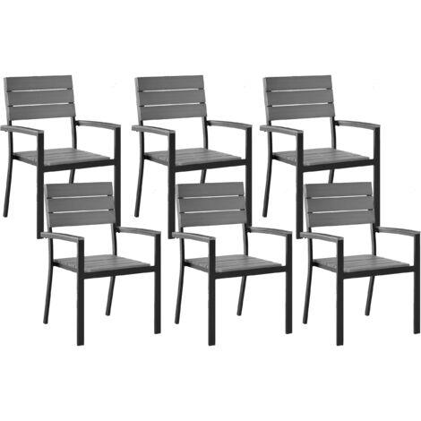 Set of 6 Garden Chairs Grey COMO