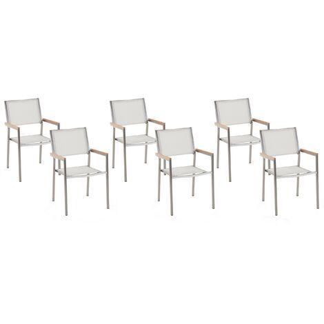 Set of 6 Garden Chairs White GROSSETO
